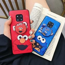 Case on For Huawei P20 P30 Mate 20 Lite Plus 3D Elmo Cookie Monsters Puppet Cases For Huawei Novo 4 Couple Silicone Stand Covers(China)