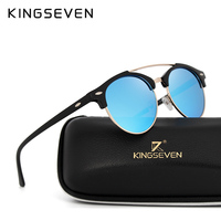 KINGSEVEN 2017 Retro Rivet Classic Luxury Brand Frame Mirrored Round Sunglasses Women Men Sun Glasses Oculos