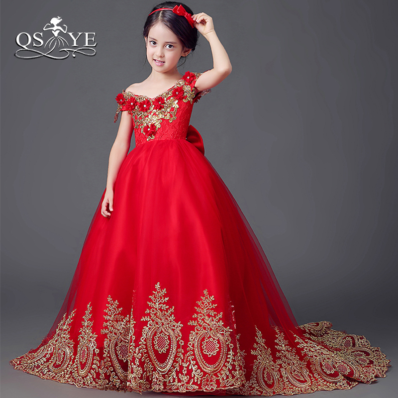 QSYYE 2019 Red Ball Gown   Flower     Girl     Dresses   with Gold Lace 3D Floral   Flowers   Tulle   Girls   Prom Gown Custom Made