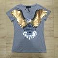 Águila negro de Lentejuelas mujeres de la camiseta 2016 Del Estilo Del Verano Super Cool Populares Camisas de Marca de Buena Calidad Camiseta de Algodón Cómodo Tops