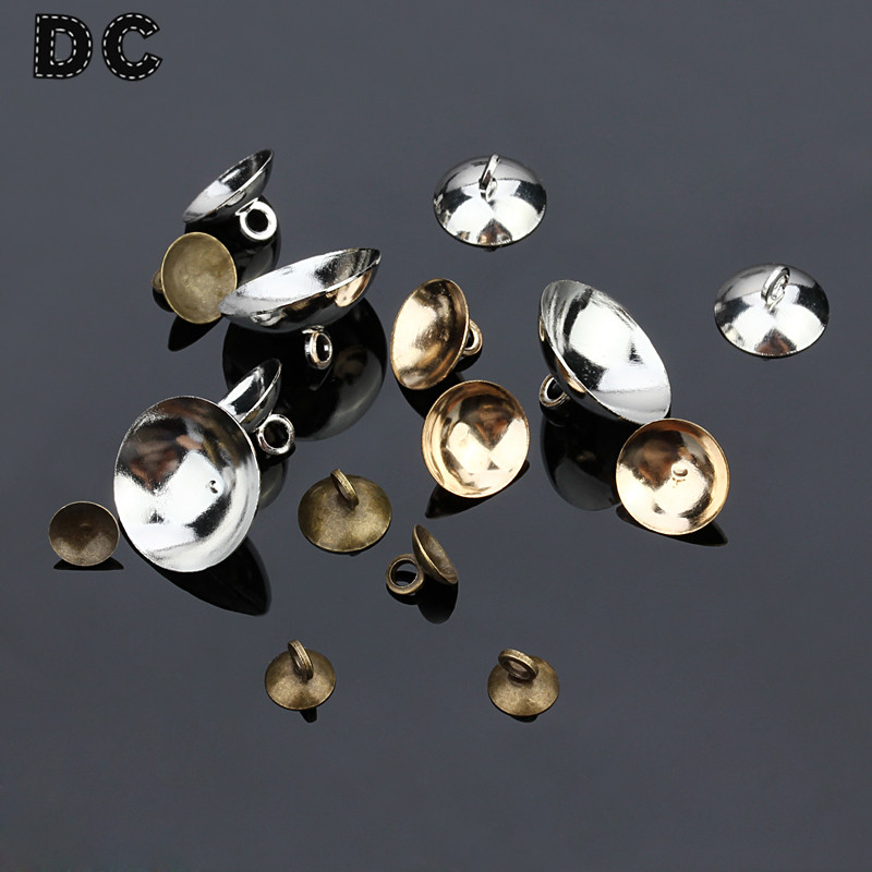 DC 50pcs/lot Iron Pearl Pendant Connector Bail Caps Fitting 6/8/10/15mm Round Beads Necklace DIY Jewelry Findings F5055