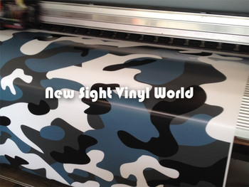 Jumbo Blue Tiger Camouflage Vinyl Wrap Film Blue Tiger Camo Vinyl Car Wrap Air Drain Vehicle Wraps Size:1.50*30m/Roll