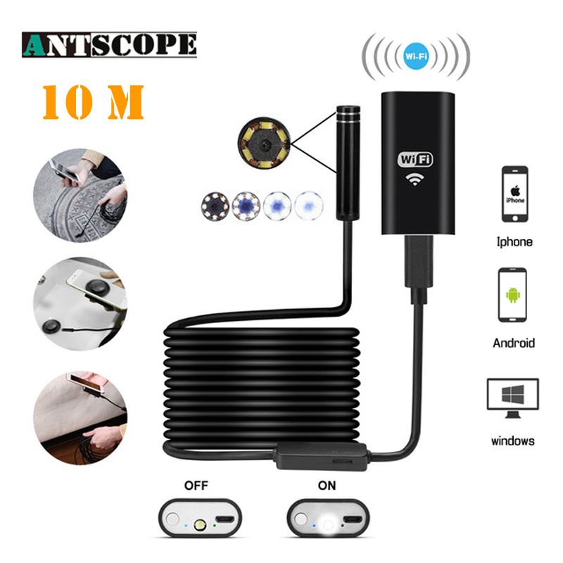 Antscope 10M Wifi Endoscope 8mm 8LED Hardwire IOS Borescope 720P Android Waterproof Pipeline inspection For Phone Camera 30 wireless wifi endoscope mini waterproof semi rigid inspection camera 8mm lens 8led borescope for ios