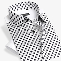 Famous Brand Cotton Polka Dot Print Men Shirt Short Sleeve Slim Fit Formal Business Fashion Casual Dress Shirt Plus Size 4XL
