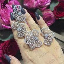 GODKI Trendy Luxe Bowknots Zirconia Crystal CZ Engagement Oorbellen Ring Sets Voor Vrouwen Bruiloft DUBAI Bruids Sieraden Sets