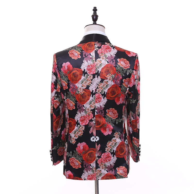 Beautiful Flower Suits Men's two piece Korean Version Fashion Fit Slim Suit Dress Groom Ball Party Dress Singers Stage Costumes