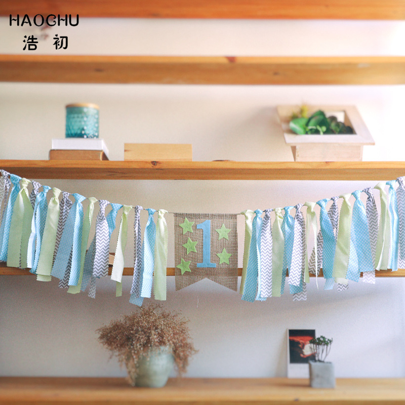 HAOCHU Light Blue Green Star One Birthday High Chair Bunting Boy Girl Room Hanging Kids Party Banner Baby Shower Garland Decor