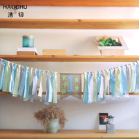 HAOCHU Light Blue Green Star One Birthday High Chair Bunting Boy Girl Room Hanging Kids Party