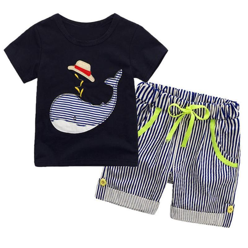 Summer Children Clothing Set Cotton Boys Clothes Cartoon Whale Print Short Sleeve T-shirt + Striped Shorts Pants Outfits