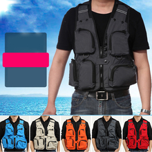 Outdoor Sport Fishing Life Vest Men Breathable Swimming Life Jacket Safety Waistcoat Survival Utility Vest Breathable mesh cloth