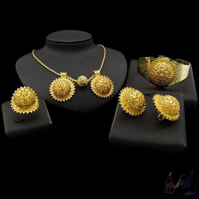 dubai 18 carat gold jewelry sets snowflake necklace earrings jewelry