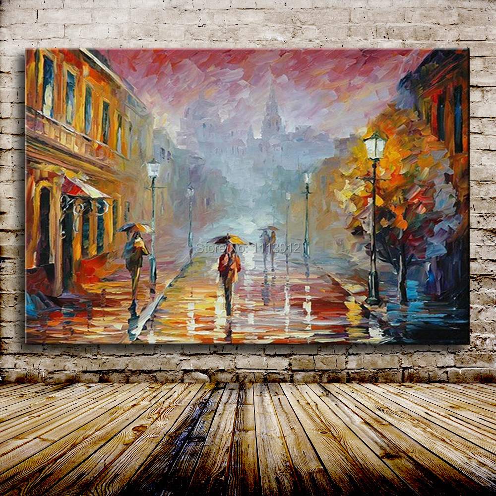 City New York Oil Painting On Canvas Wall Art For Living: Modern Landscape Oil Painting Knife On Canvas New York