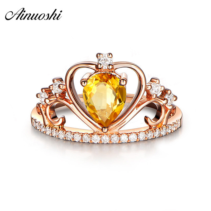 AINUOSHI Natural Citrine Queen Crown Ring 925 Sterling Silver Rose Gold Color Ring 1ct Pear Cut Engagement Jewelry Women RingAINUOSHI Natural Citrine Queen Crown Ring 925 Sterling Silver Rose Gold Color Ring 1ct Pear Cut Engagement Jewelry Women Ring