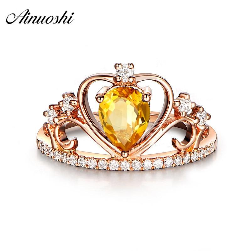 AINUOSHI naturel Citrine reine couronne anneau 925 en argent Sterling couleur or Rose anneau 1ct poire coupe bijoux de fiançailles femmes anneau
