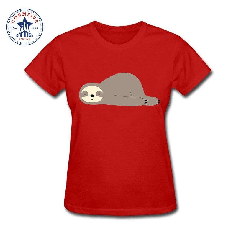 2017 New Arrive Funny girls lazy Slow Walker Sloth Cotton funny t shirt women
