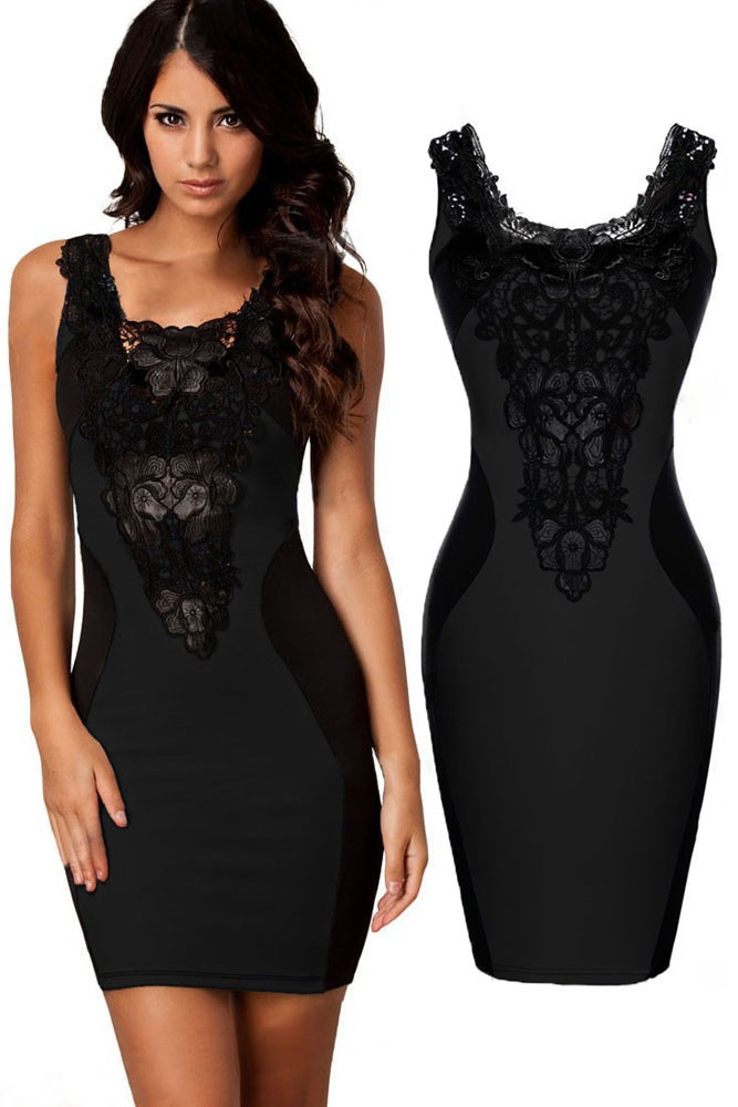 Black-Sexy-Lace-Contrast-Cocktail-Party-Evening-Bodycon-Dress-LC21548-2