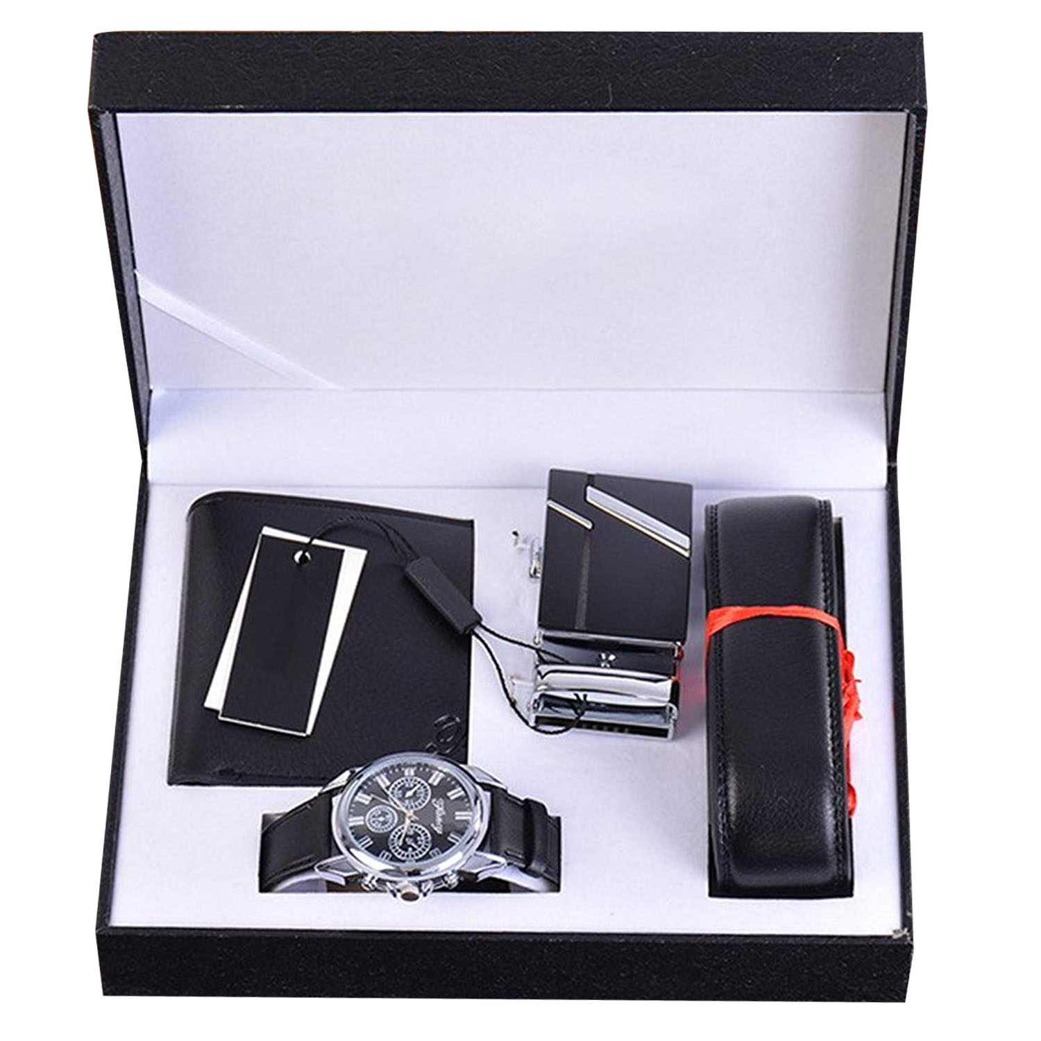 цена Mens Black Artificial Leather Quartz Analog Wrist Watch Belt Wallet Set with Box