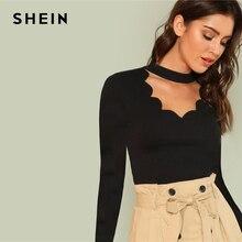 SHEIN negro ropa elegante bordado de manga larga cuello en V Skinny Tee 2018 nuevo otoño minimalista mujeres T camisa Y en la parte superior