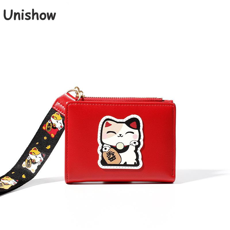 Unishow Embroidered Lucky Cat Wallet Women Slim Thin Anime Wallet Wristband Ladies Purse Short Girl Wallet Zipper Coin Purse