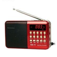 Mini rádio portátil digital, fm usb, tf, mp3 player, recarregável