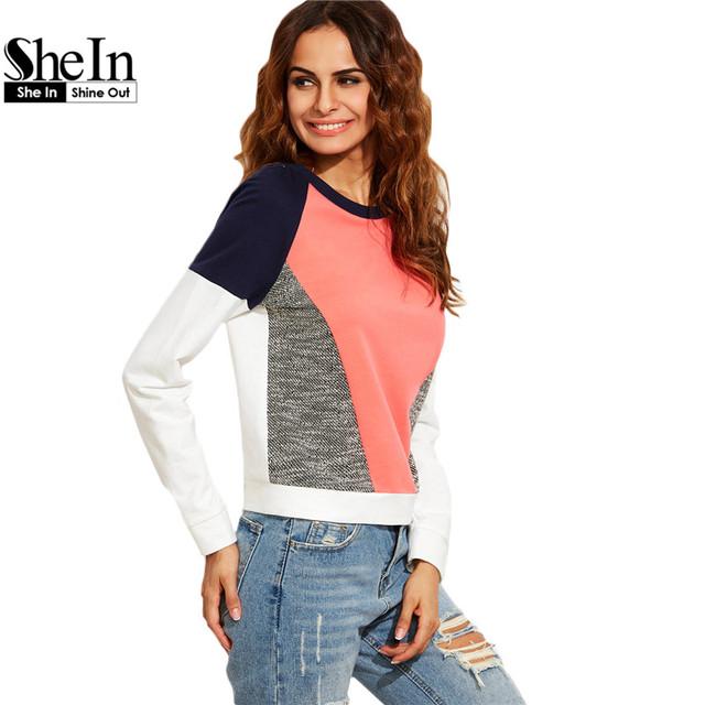 Shein camisolas casuais para senhoras outono nova chegada das mulheres multicolor em torno do pescoço de manga longa bloco de cor da camisola