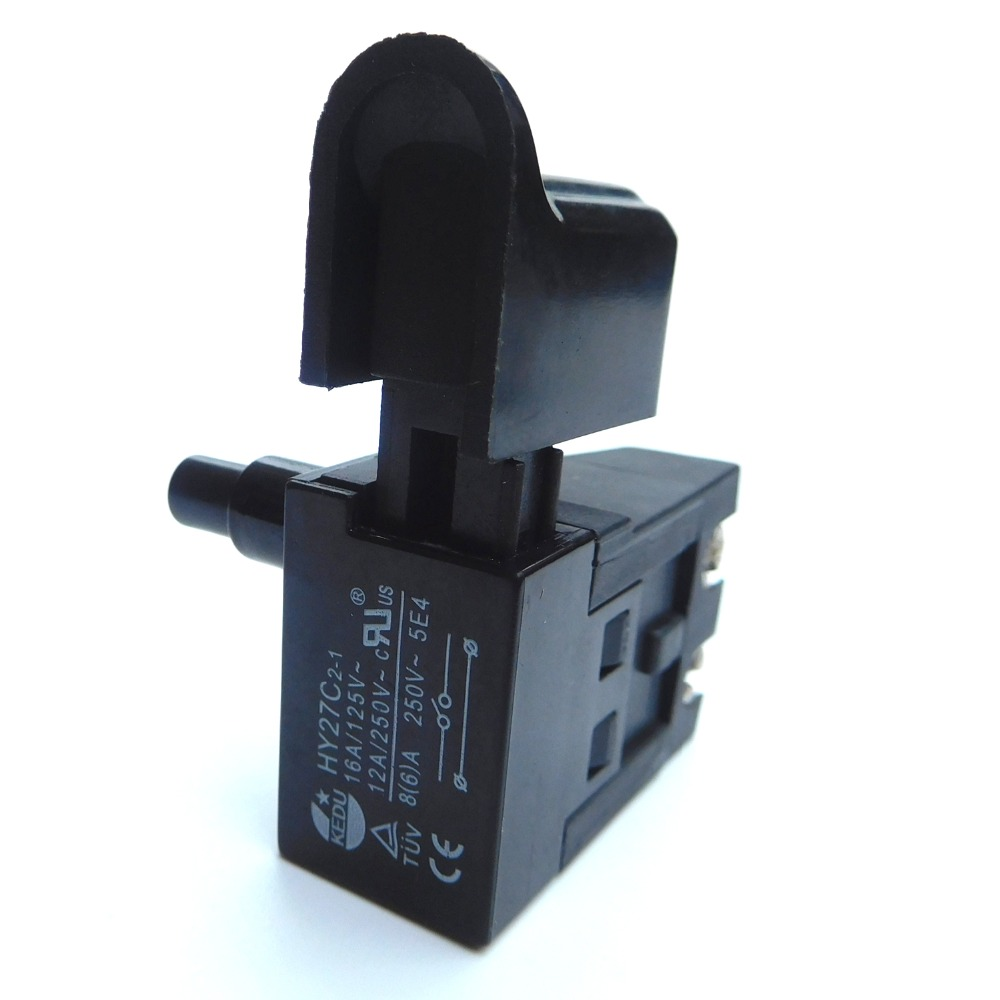 KEDU HY27C 16A/125V 12A/250V Industrial Electric Lock On Trigger Pushbutton Switch for  Power Tools Electri Saw CutterKEDU HY27C 16A/125V 12A/250V Industrial Electric Lock On Trigger Pushbutton Switch for  Power Tools Electri Saw Cutter