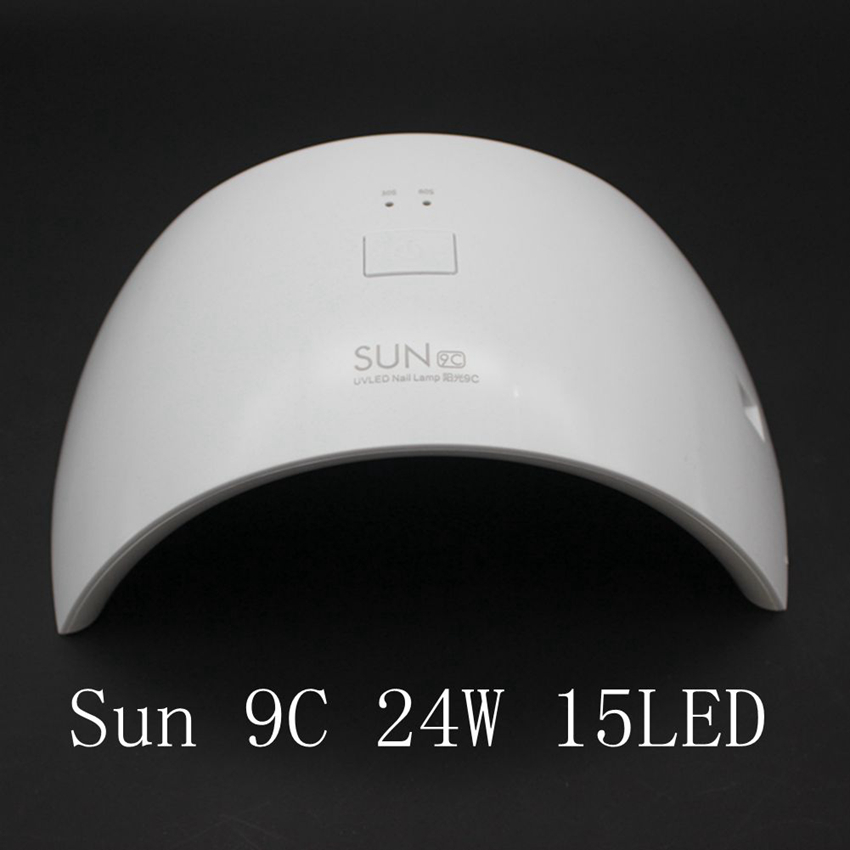 SUN 9c Lamp 24W Professional UV LED Lamp Nail Dryer Polish Machine for Curing UVLED Nail Gel Art Tool With 30s/60s Button new professional dc 12v 2a 24w uv led nail lamp nail dryer unique design intelligent induction three setting buttons an adapter
