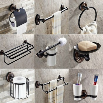 Black Oil Rubbed Bronze Brass Wall Mounted Bathroom Accessories Set Towel Bar Soap Dish Robe Hook Toilet Paper Holder aset020 leyden new brass oil rubbed bronze soap dishes ceramic soap basket wall mounted shower soap dish holder bathroom accessories