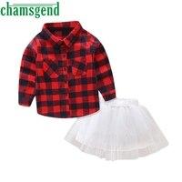 Children S Plaid Long Sleeve Shirt Short Skirt Toddler Baby Girls Lattice Long Sleeve T Shirt