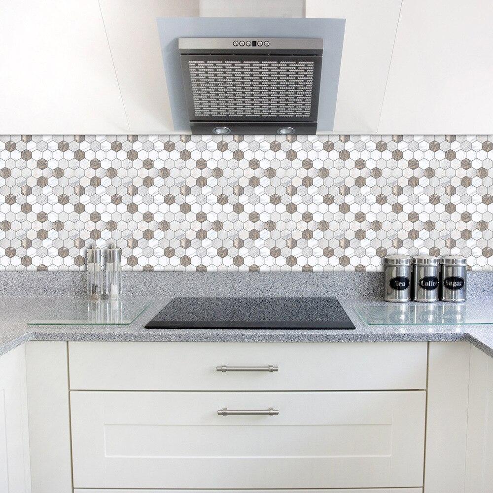 Adhesif Sur Carrelage Cuisine €7.43 40% de réduction autocollant de dosseret de carrelage mural adhésif  funlife, carreaux décoratifs de cuisine en faux marbre pvc, autocollant