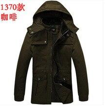 Fashion men winter military uniform jacket thick hooded cotton muti-pocket plus size army green coat outwear 2XL S983