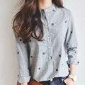 Folhas de outono Bordado Mulheres Manga Comprida Blusas E Camisas Das Senhoras Do Sexo Feminino Casual Camisa Listrada Tops Plus Size Blusas Blusa