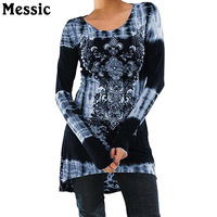 Messic Casual Plus Size 4XL 5XL T Shirt Women 2018 Autumn O Neck Long Sleeve Tee