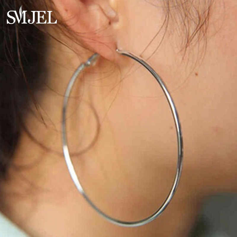 SMJEL Big Stainless Steel Circle Hoop Earrings for Women Hip hop Jewelry Exaggerated Round Loop Earrings 2019 brincos Wholesale