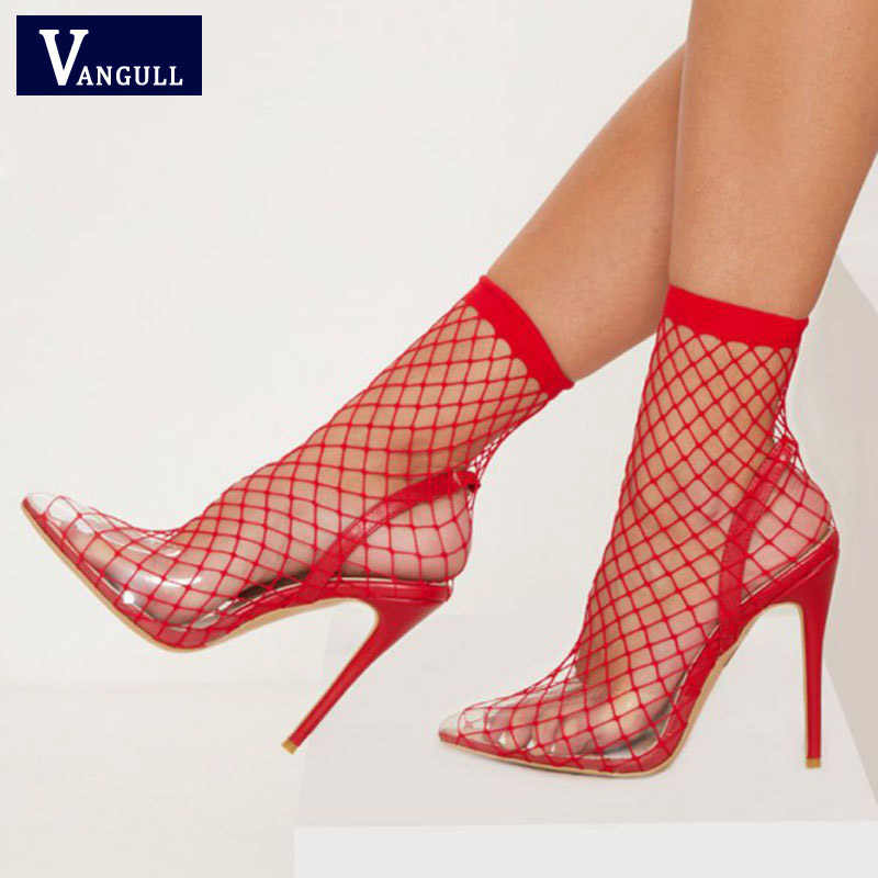 VANGULL Women Pointed Toe Mesh Holes Sandals Sexy Summer Shoes Breathable  Cool Spring OL Party High 76835a4a81db