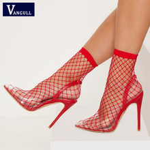 a480386e41c VANGULL Women Pointed Toe Heels Summer Fishnet Sandals 2019 New Fashion  Mesh Holes Sexy Female Shoes
