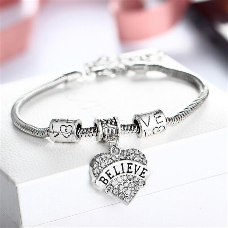 2017 brand jewellery heart charm bracelets bangles for. Black Bedroom Furniture Sets. Home Design Ideas