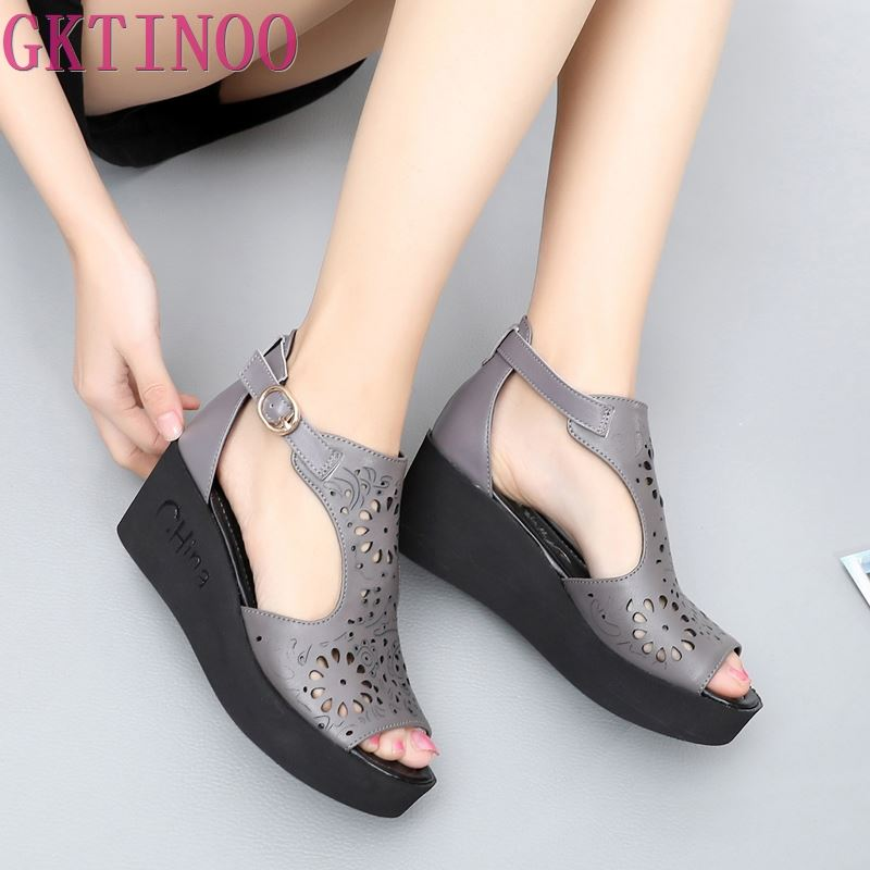 GKTINOO 2019 New Hollow Genuine Leather Sandals Women Shoes Sandals Platform Wedges Summer Shoes Woman Fashion
