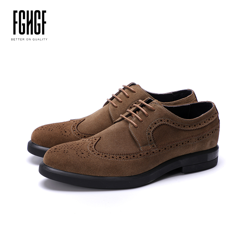Men's Brogue Shoes Cow Suede Genuine Leather Nubuck Leather Round Toe Derby Style Dress Wedding Business Shoes 2018 New Lace-up new arrival men casual business wedding formal dress genuine leather shoes pointed toe lace up derby shoe gentleman zapatos male