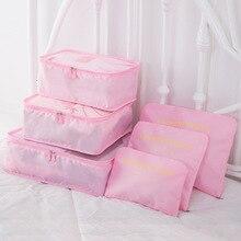 Compression Packing Cube Travel Luggage Organizer/Waterproof/6 Pcs/Nylon/Mens/Female Bag Large Capacity