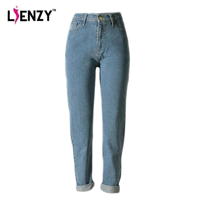 Nuevo 2016 de Primavera de Una Pieza Ocasional de Las Mujeres Pantalones Vaqueros de Cintura Alta Luz Azul Lavado Retro Denim Jeans Pantalones Rectos flojos Para invierno