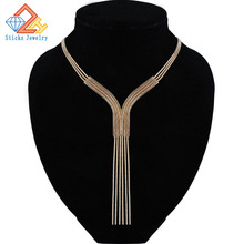 Trendy Necklace for Women Roes Gold plate Snake Chain Tassel Sexy Fashion Jewelry Accessories