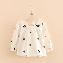 2018 Spring Female Children'S Clothing O-Neck Long-Sleeve Baby Girl Cute Colourful Computer Embroidery Floral White Shirt