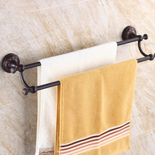Oil Rubbed Black Bronze Bathroom Double Towel Bar Wall Mounted Towel Rack Bathroom Accessories KD939 oil rubbed bronze bathrrom dual towel bar towel hanger soild brass wall mount