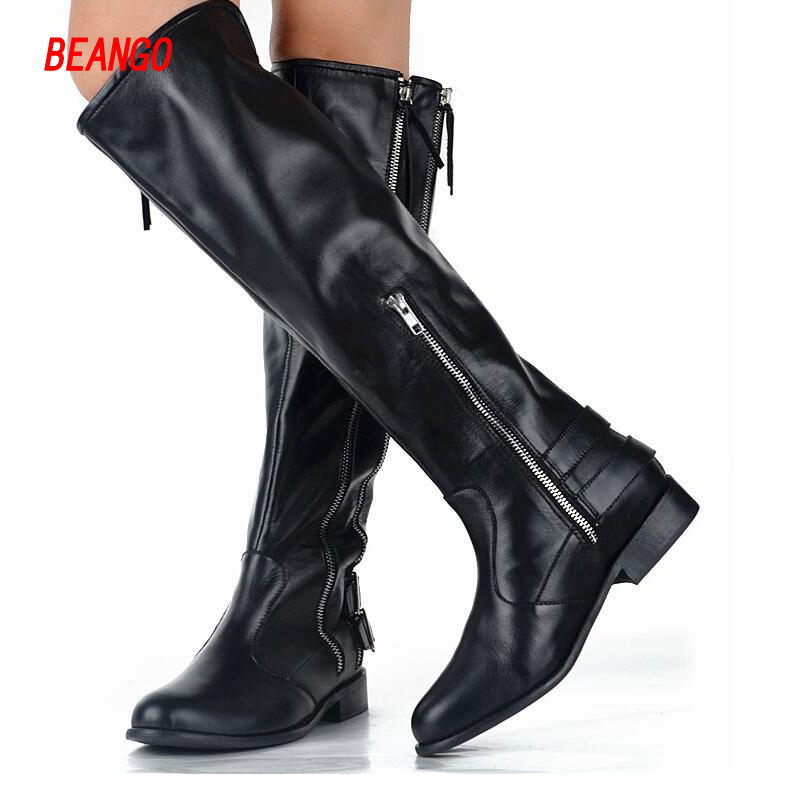 BEANGO Black Cow Leather Women Knee Boots Flat Low Heel Casual Fashionable Boots Side Double Zipper Cool Boots Female black women boots flat heel casual