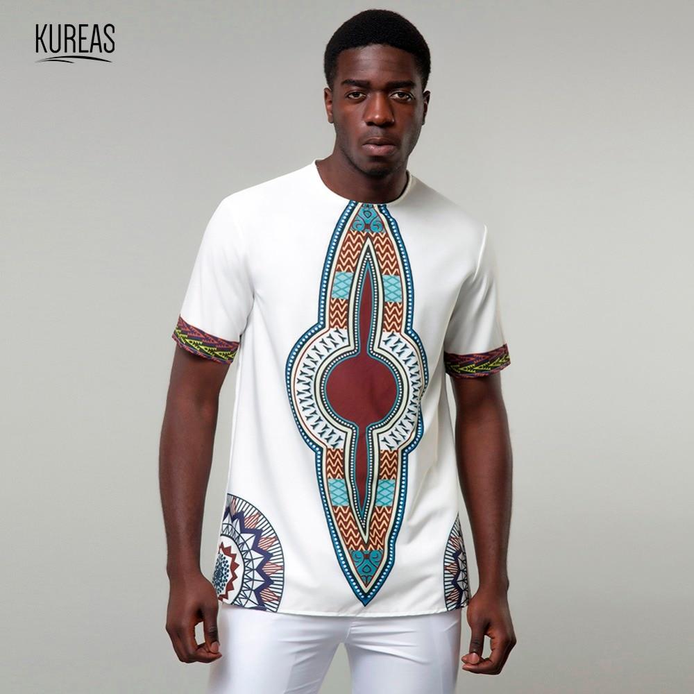 Kureas Men's Dashiki T-Shirt Traditional African Print Casual Tee Tribal Fashion Clothing Summer Tops Short Sleeve