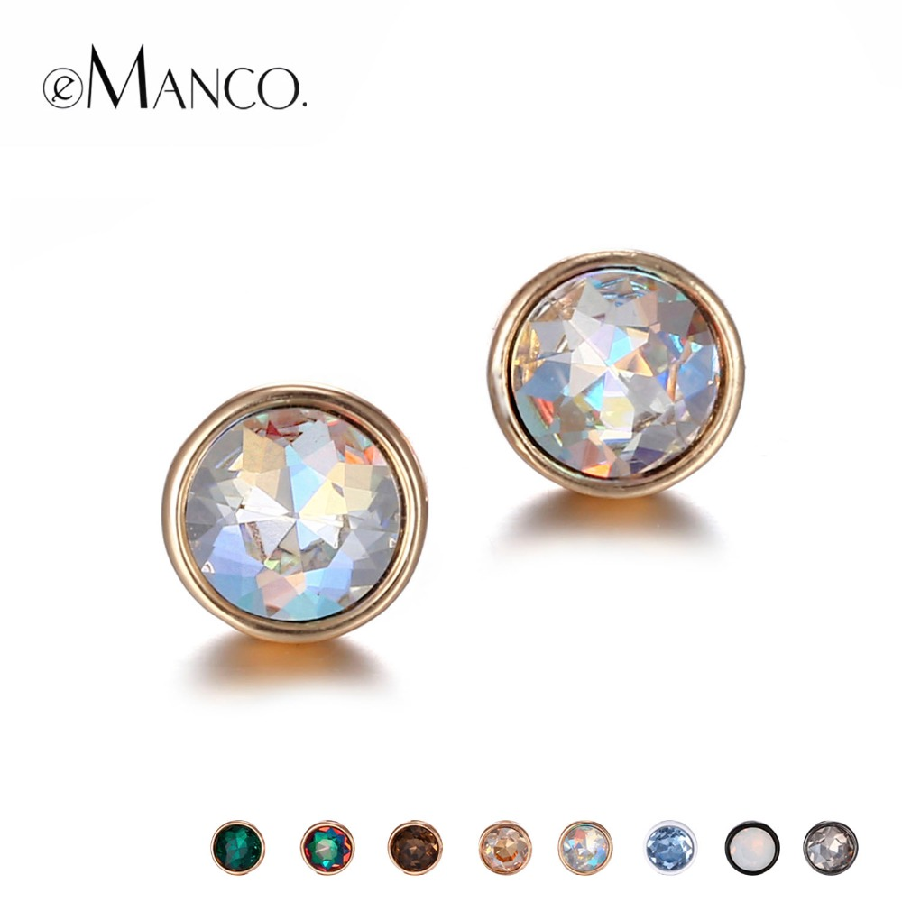 eManco Wholesale Rhinestones Piercing Stud Earrings Set Mix Statement Geometric Create 8 Colors 2 Sizes Earrings Gifts for Women