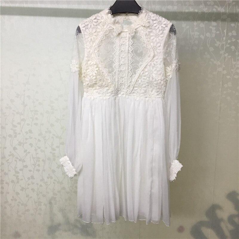 Été blanc robe femmes 2018 Sexy dos nu dame à manches longues robe de mode femmes lâche robe