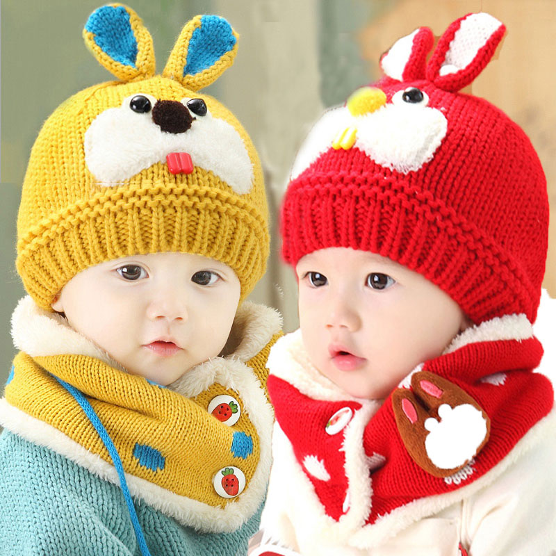Winter Baby Hat Scarf Set For Kids Girls Cap And Scarves Children Cute Rabbit Knit Beanies Caps Scarf Warm 2 Pcs Suit MZ3092