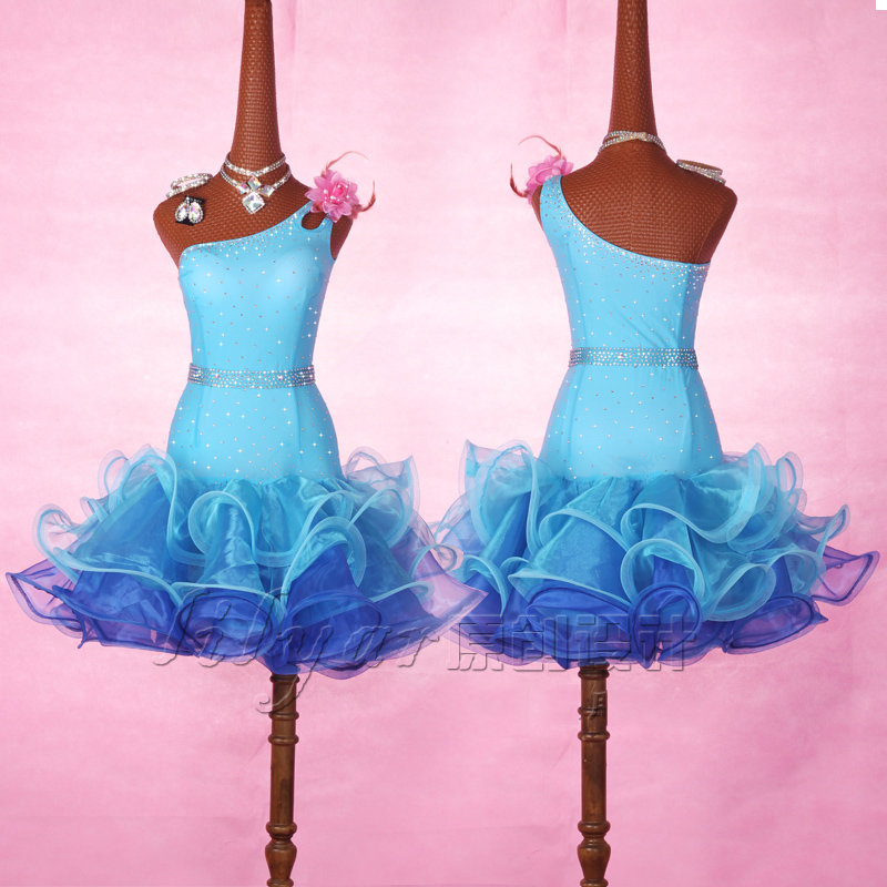 New Latin Dance Dress For Adult/Children Female Blue Rhinestone Dress Bubble Skirt Salsa Dress Latin Competition Dress BL1885